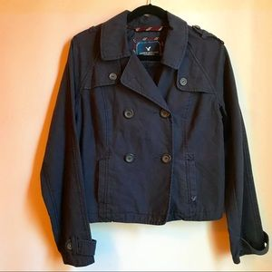 American Eagle Blue Cotton Double Breasted Jacket